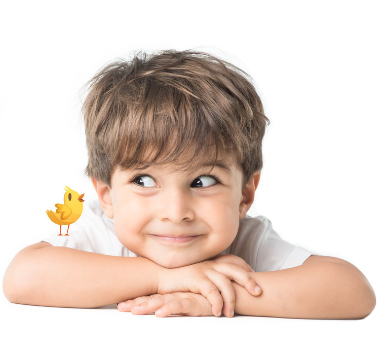 A kid fascinated by a little yellow chick standing over his arm.
