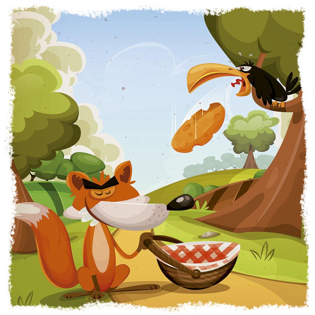 A raposa e o corvo, próximos a uma árvore.