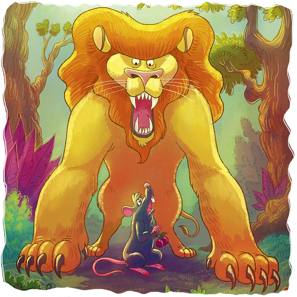 O Leão Leônidas segurando o rato Honorato entre as suas patas.