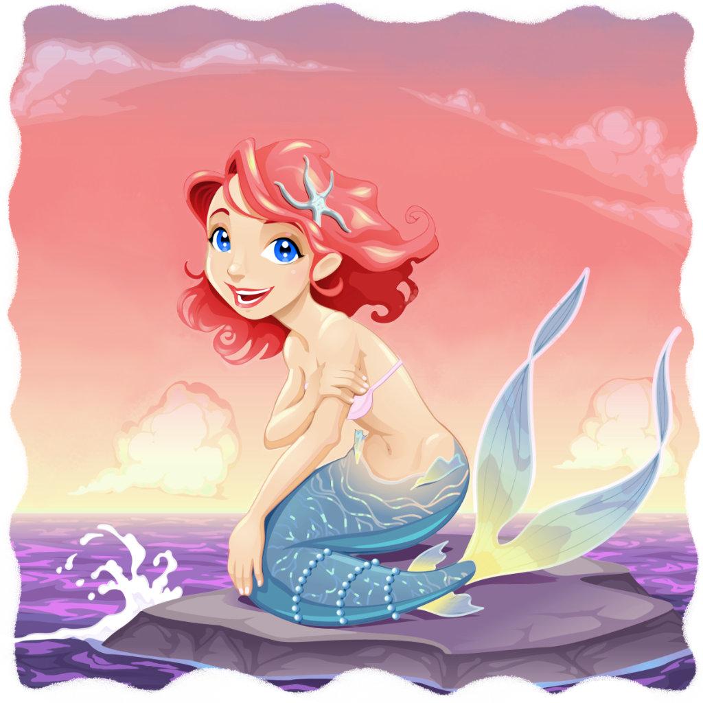 A pequena sereia, sobre uma grande pedra do mar.