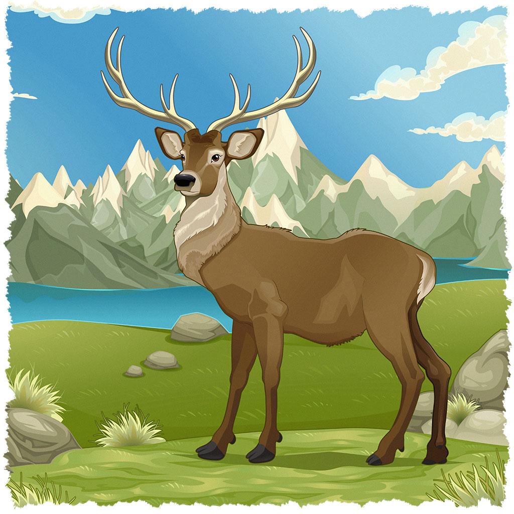 O cervo em uma bonita paisagem montanhosa.